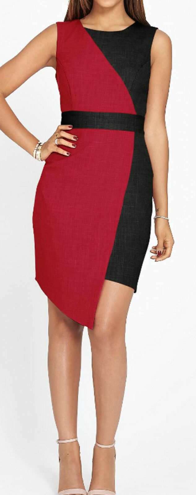 ROCHELLE HUMES ASYMMETRIC COLOUR BLOCK DRESS Größe 12