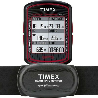 Levendig New Timex T5k615 Cycle Trainer 2.0 Bike Computer Gps With Heart Rate Monitor Verfrissing