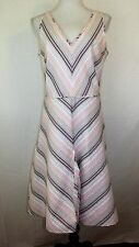 Adrianna Papell Size 14 Spring Dress Sleeveless Flare Skirt Pale Pink Green Whit