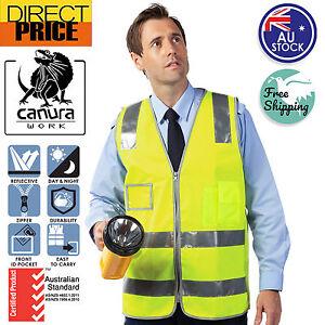 HI-VIS-Vest-Safety-Vest-Zip-Up-Reflective-Tape-Workwear-Night-Day-Use-New-POCKET