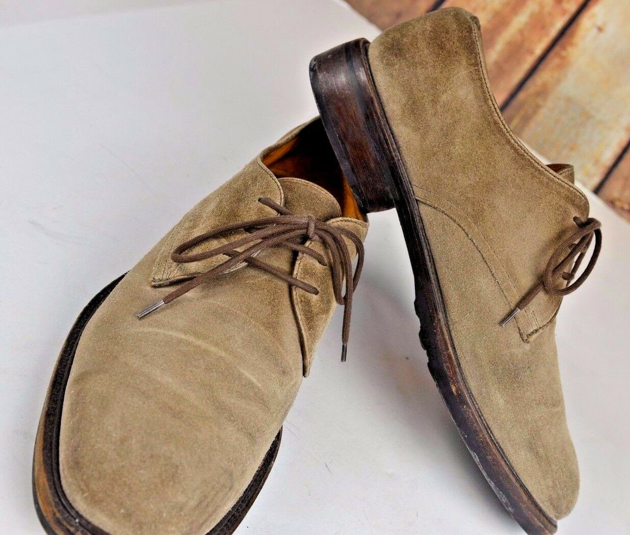 Cole Haan Men's Suede Loafers Size 9 Olive Lace Up Casual shoes Slip On Cool