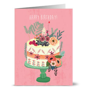 Astounding 24 Note Cards Blooming Berry Birthday Cake Envs Ebay Personalised Birthday Cards Veneteletsinfo