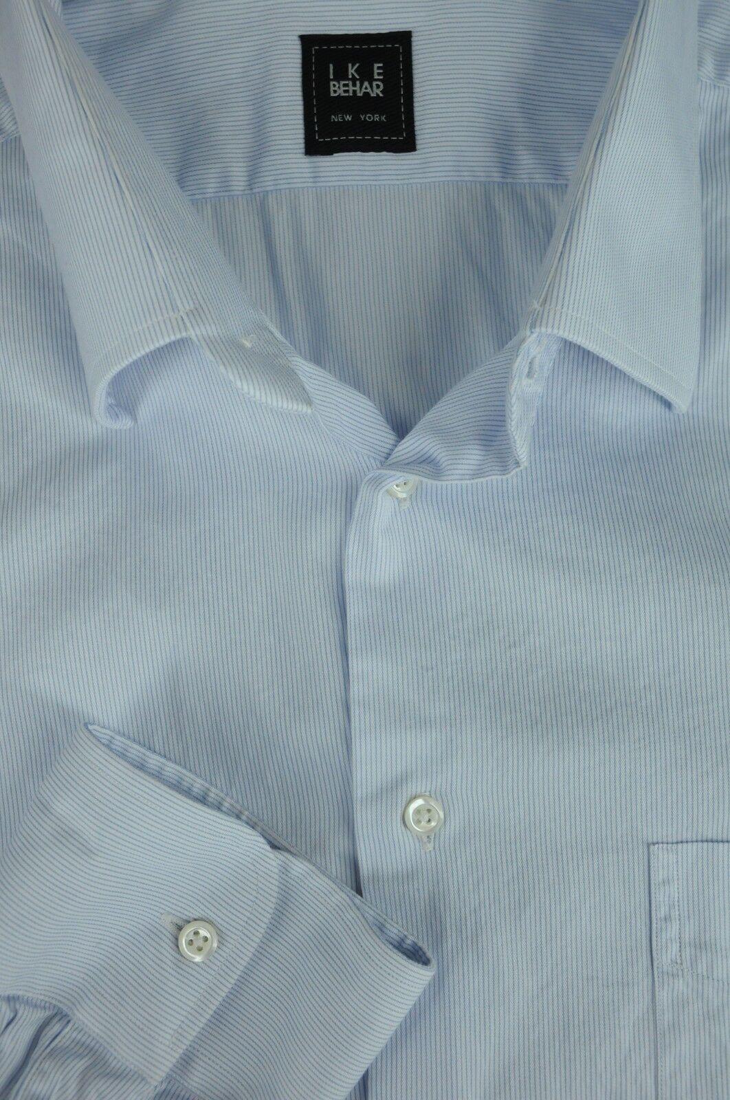Ike Behar Men's Powder bluee & White Fine Striped Casual Shirt L Large
