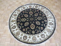 5'10 X 5'10 Round Hand Knotted Black Persian Tabriz With Silk Oriental Rug G5251