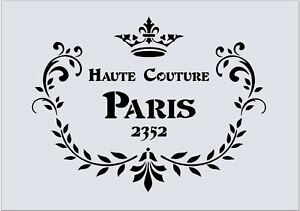 POCHOIR-Shabby-Chic-francais-VINTAGE-art-artisanat-A6-A5-A4-A3-MYLAR-125-190um