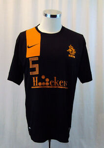 KNVB-Soccer-Jersey-Mens-XLarge-Gil-5-Black-Orange-Nike-Dri-Fit-Authentic