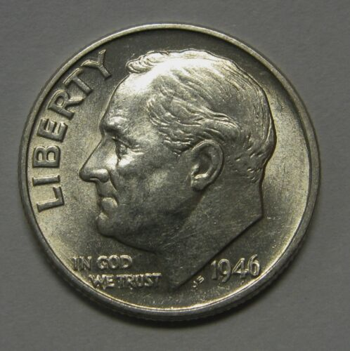 Gorgeous 1946 Silver Roosevelt Dime Grading NICE AU//BU First Year of Issue DUTCH