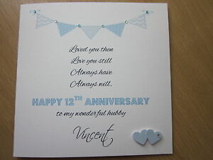 personalised handmade anniversary card etc lovely verse husband