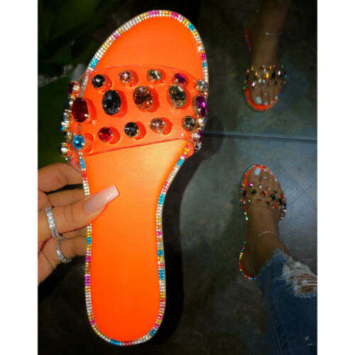 Women Flat Sliders Slippers Ladies Studded Diamante Holiday Summer Sandals Shoes