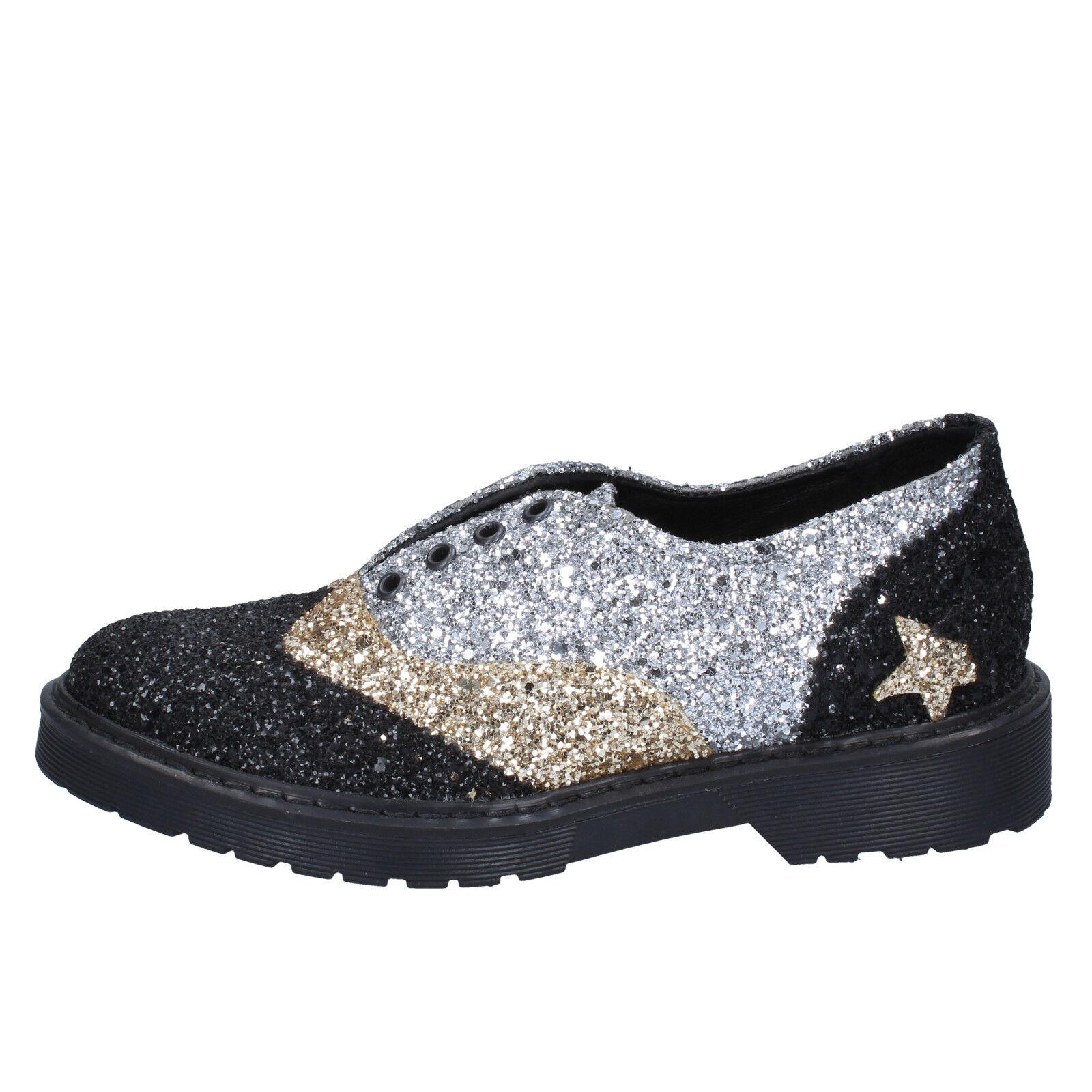 Damenss schuhe 2 STAR 4 (EU 37) elegant schwarz silver gold glitter BX379-37