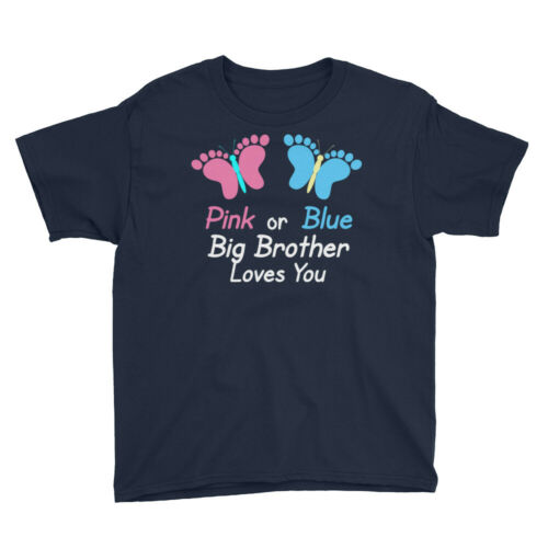 Gender Reveal Brother Pink or Blue Butterflies T-Shirt Youth XS-XL