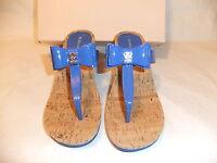 Bcbgeneration Michelle Blue Patent Platform Thong Sandal Size 7.5 $60