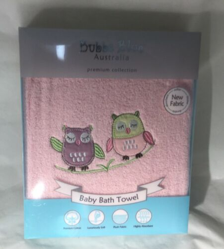 Brand New Bubba Blue Baby Cotton Bath Towel Girl Baby Owl Soft
