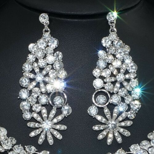 YT258 Clear Rhinestone Crystal Earrings Necklace Set Bridal Party Gift