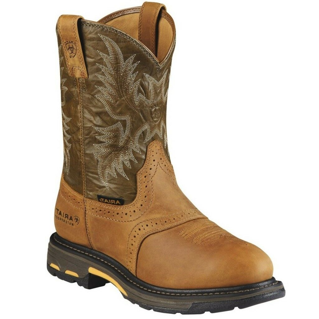 Ariat Men's WorkHog Pull-On H2O Boots Aged Bark 10008635