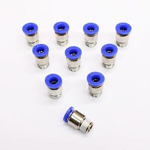 "10pc Push to Connect Male ROUND Fittings 3/8"" x 1/4"" NPT MettleAir MTCR3/8-N02"