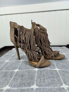 Candie's Ladies Size 7M  Black Faux Suede Ankle Strap Fringed High Heel  Shoes