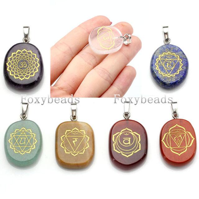 1X Engraved Symbols Chakra Crystal Reiki Healing Balancing Energy Palm Pendant