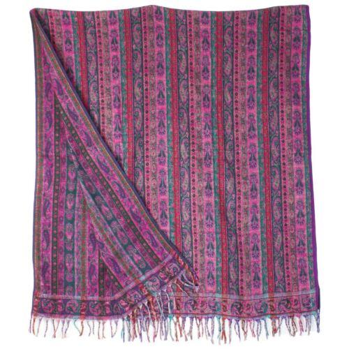 SHAWL PASHMINA WRAP SCARF FLEECE INDIAN BLANKET HIPPIE FESTIVAL Pink /& Green