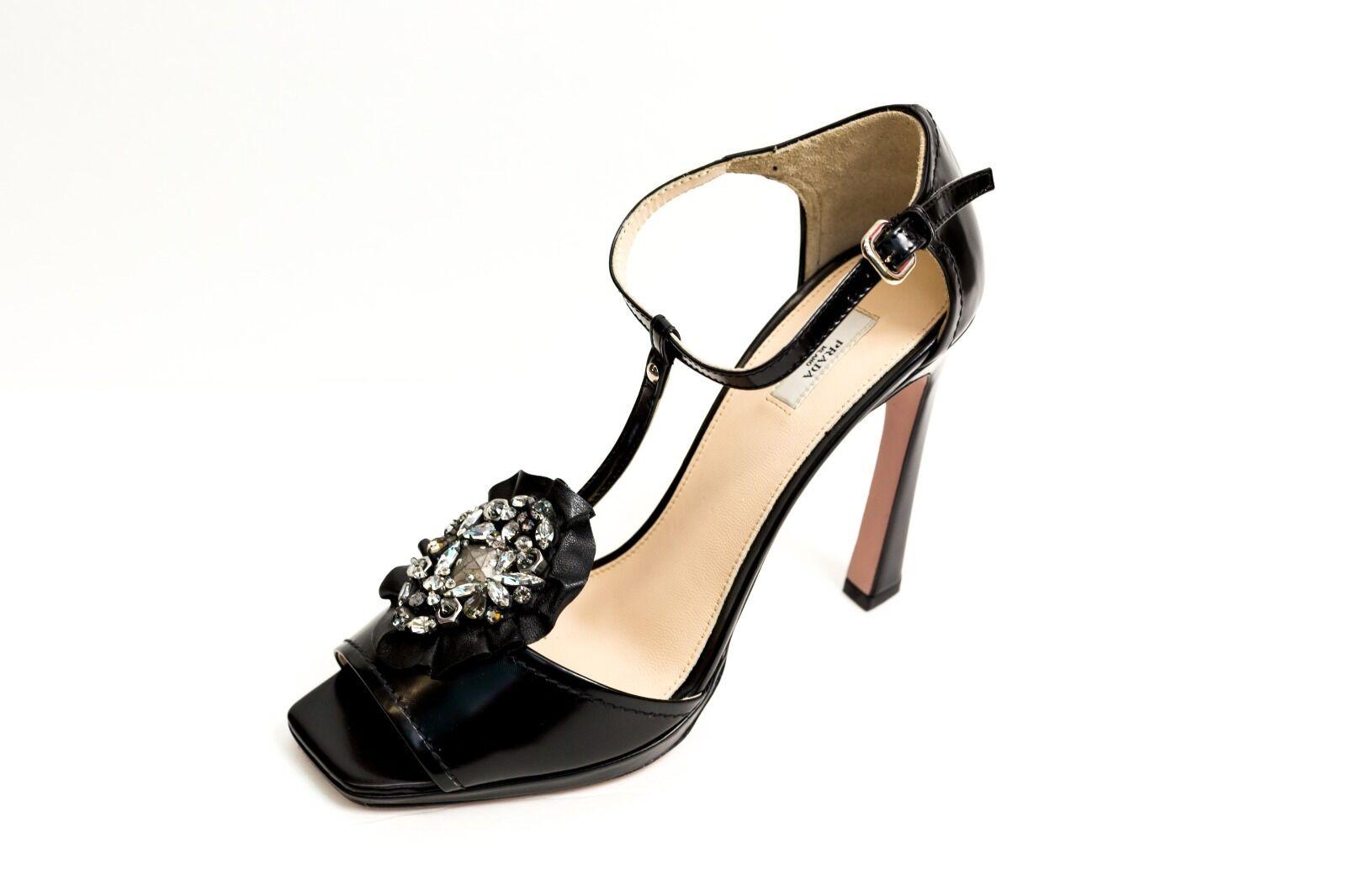 Zapatos Prada Sandalias Tacones Negro Cristales 10 40 Nuevo Nuevo Nuevo  protección post-venta