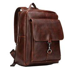 Sunmig Men Women Vintage Backpack PU Crazy Horse Leather Rucksack Daypack for