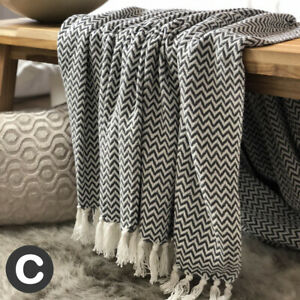 Luxury-100-Cotton-Dark-Grey-White-Herringbone-Throw-Blanket-Fringed-Sofa-Bed