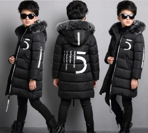 2018 winter new kids boy cotton coat thicker long paragraph hooded cotton jacket
