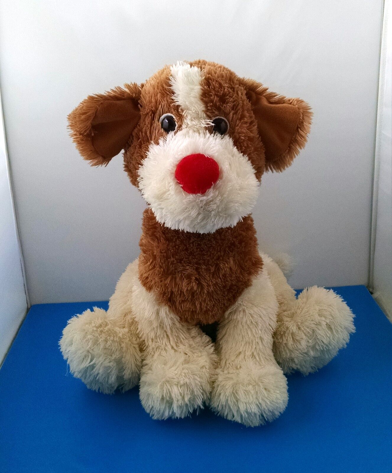 LARGE 20  Best Made Toys Brown White Shaggy Puppy Dog Red Nose Plush Valentines