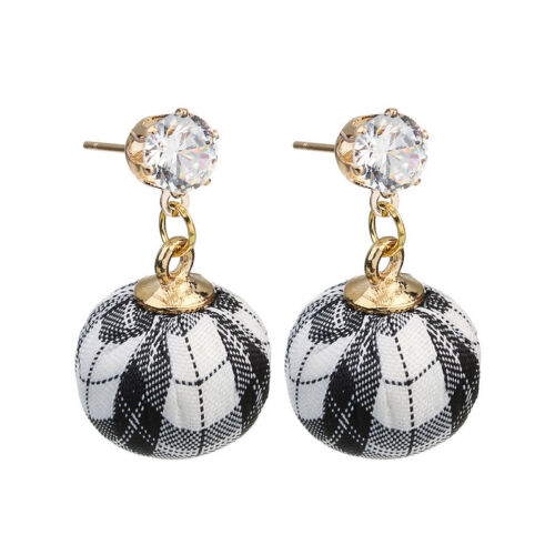 Femmes Fashion strass cristal or Suspendu Tissu Ball Drop Dangle Earrings