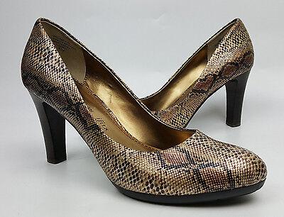 Anne Klein iFlex shoes 8.5 bronze metallic faux snakeskin classic pumps Clemence
