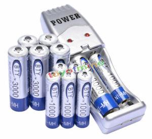 6x-AA-6x-AAA-1000mAh-3000mAh-1-2V-NI-MH-BTY-bateria-recargable-USB-cargador