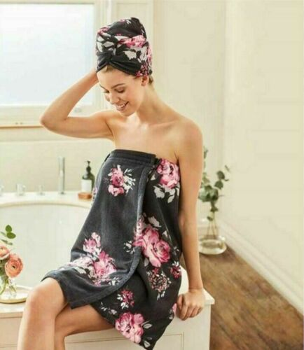Avon Floral Microfibre Towel and Turban Set New in Packaging