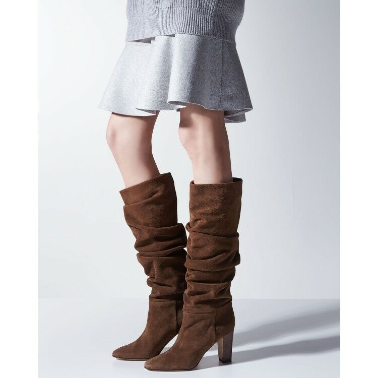 Womens Suede Slouch Block Heels Pointed Toe Stretchy Pull up MId-calf Boots Size