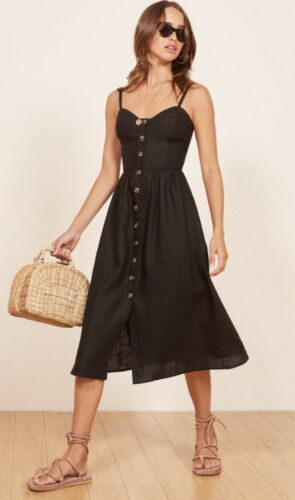 NWT $198.00 Reformation Thelma Dress Size 0 Black Button Down Dress SOLD OUT