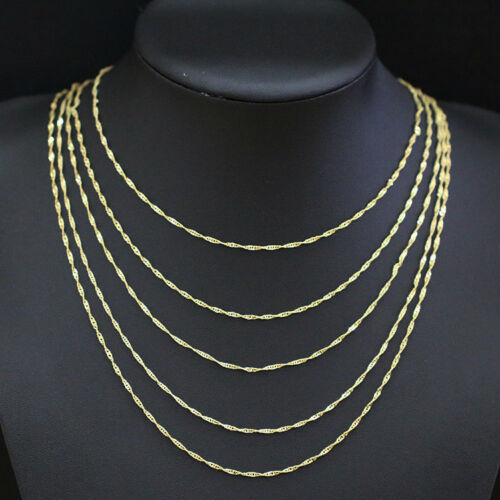 "24/"" Gros Lots 10pcs 2 mm 18K plaqué or Water Wave Chain Necklace 16/"""