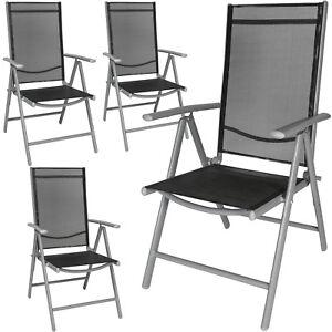 Sedie Da Giardino In Alluminio Pieghevoli.Dettagli Su Set Di 4 Alluminio Sedie Da Giardino Pieghevole Poltrona Campeggio Grigio Chiaro