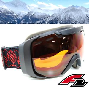 Classic-Skibrille-F2-Alpinski-Snowboard-Brille-Schwarz-S2-Filter-Orange-getoent