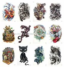 """US SELLER, 10 sheets cat play cards devil 8.25"""" large arm temporary tattoo Skin"""
