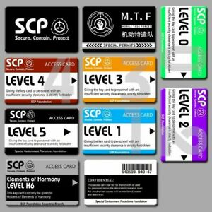 SCP Foundation Keycards PLASTIC CARD electronic pass cosplay games gift 10pcs