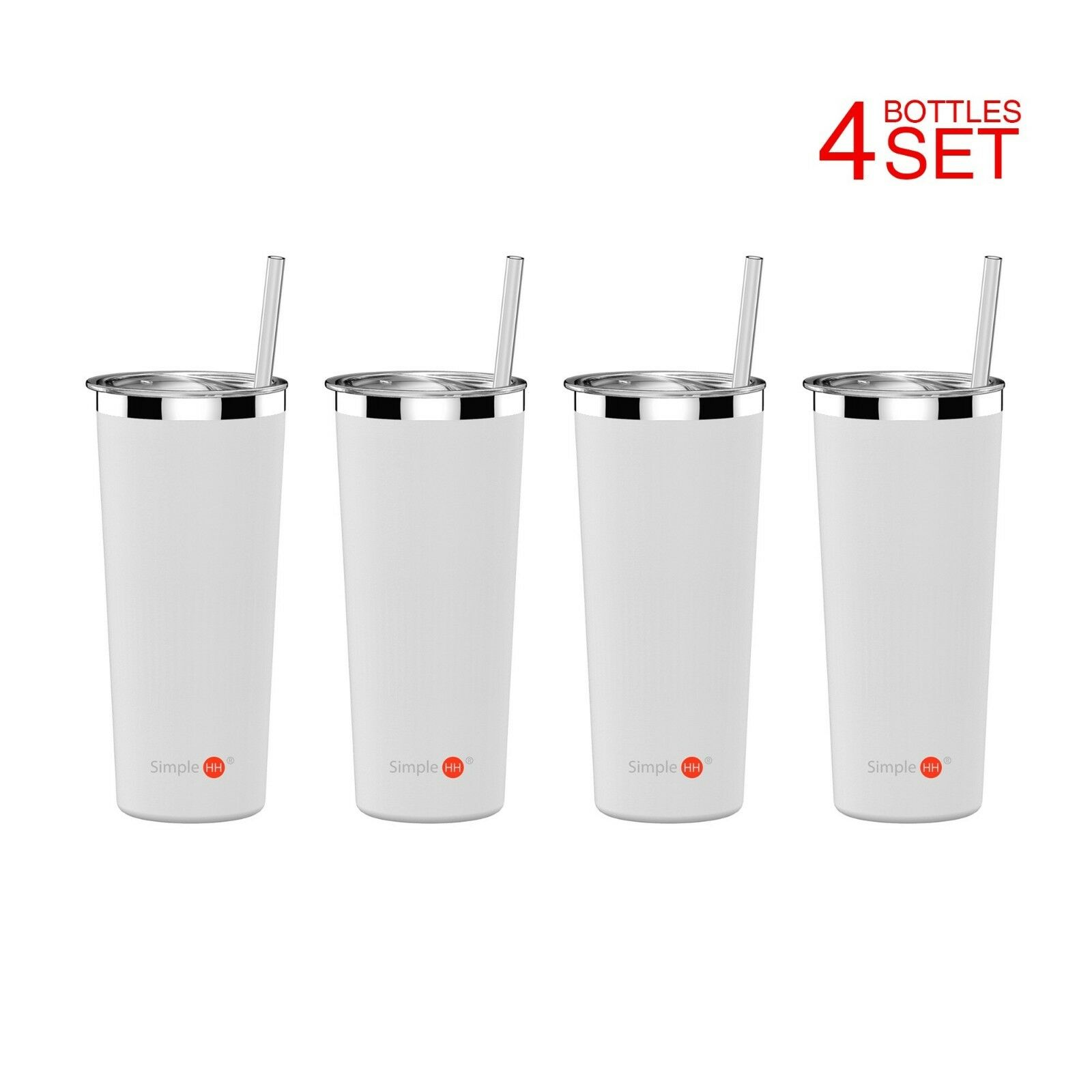 4 SET Double Wall Tumbler Vacuum Insulated Stainless Steel Coffee Cup With Straw
