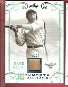more photos 423a1 3ac6d Details about BABE RUTH GAME USED BAT CARD #d 3/20 1 OF 1 JERSEY # LEAF  IMMORTAL BOSTON BAT