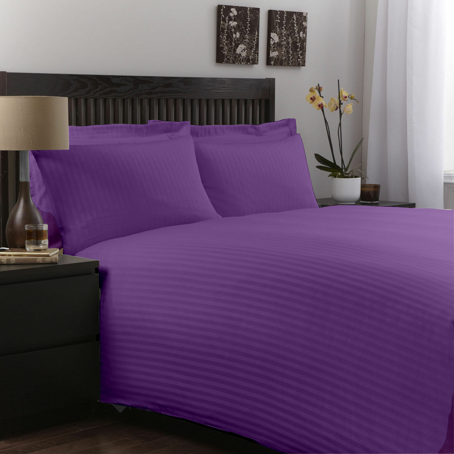 Purple Striped New Egyptian Cotton 1000TC Complete Bedding Collection US Size;