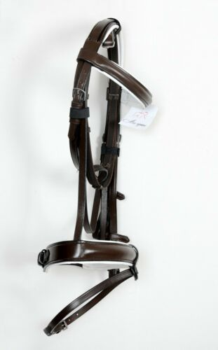 New Leather horse bonefire bridle with 1.5/'/' noseband and brown colour full size