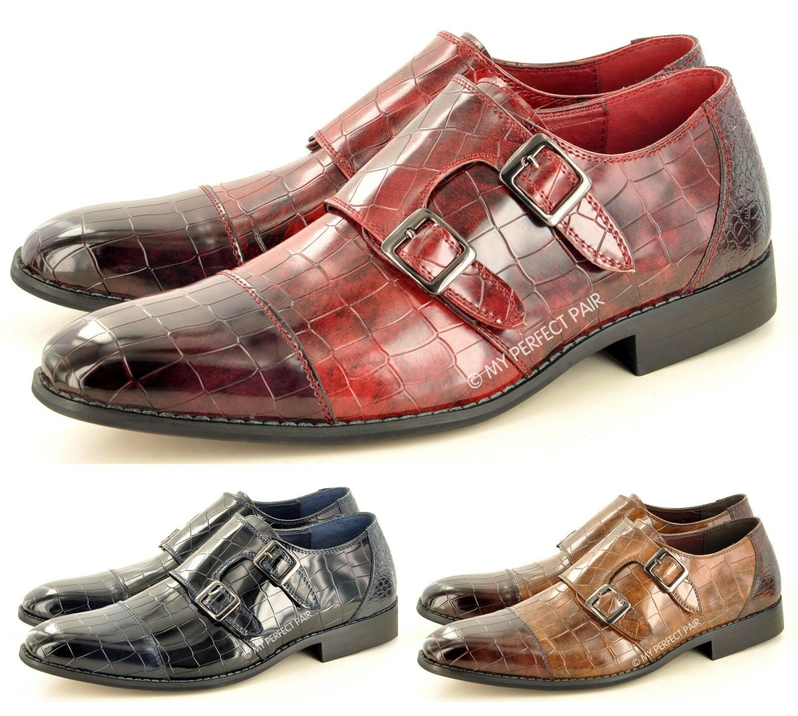 Men's Croc Skin Pattern Monk Strap Slip On Formal 7-11 Casual Loafer Shoes Size 7-11 Formal 412276