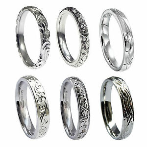 Image Is Loading 3mm 18ct White Gold Hand Engraved Wedding Rings