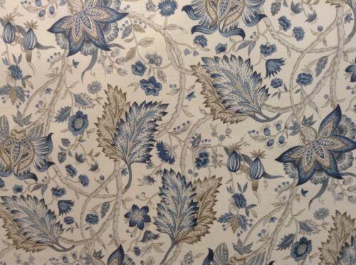Vintage Lino Kedleston Morris Azul Tela De Cortina De 140cm de ancho