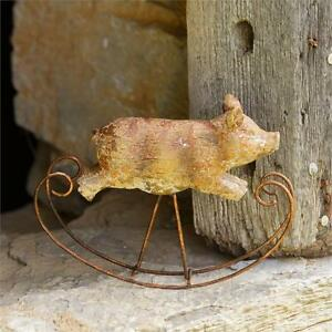 VIntage-Style Rustic Primitive Small Rocking Pig Shelf Sitter