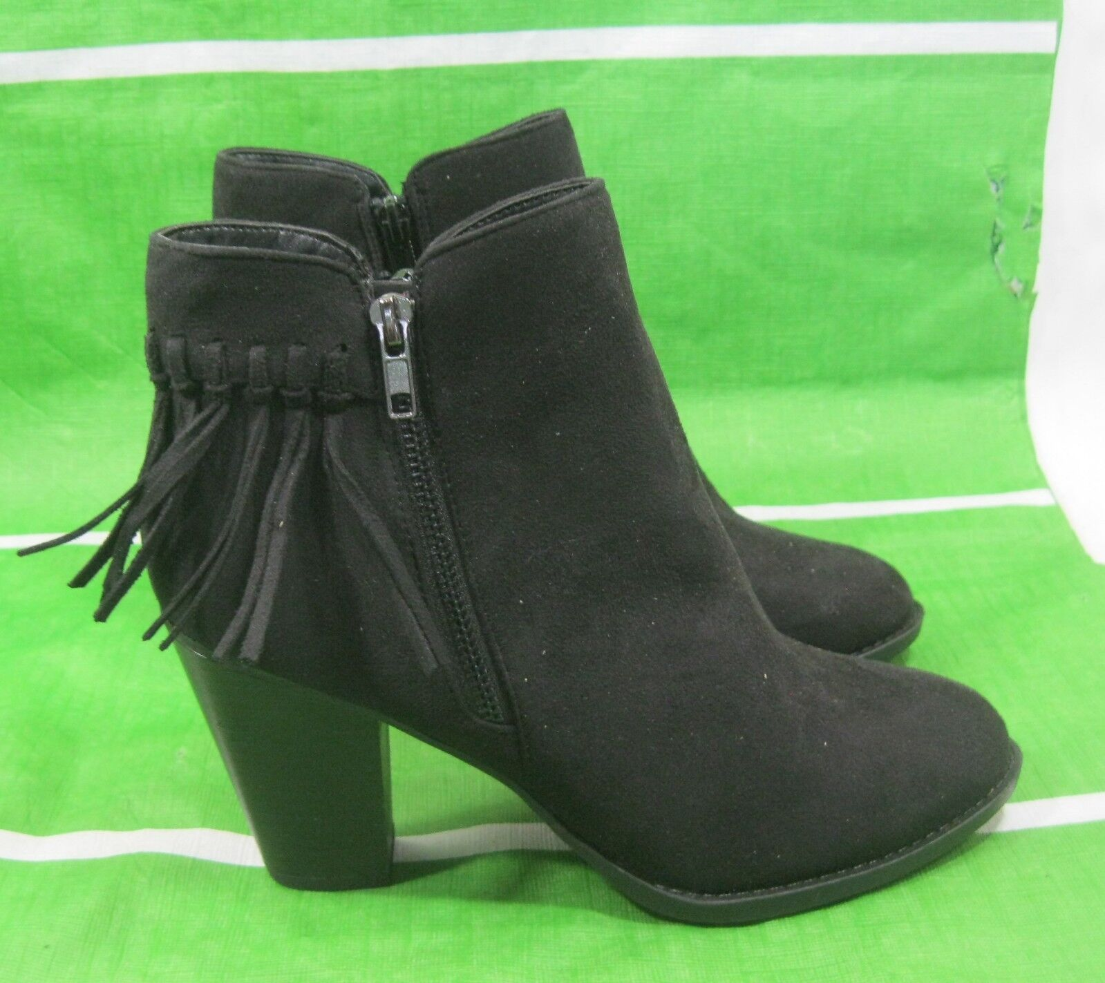 New ladies Womens Black 3.5 Block Heel frill Sexy Ankle Boot Size  9