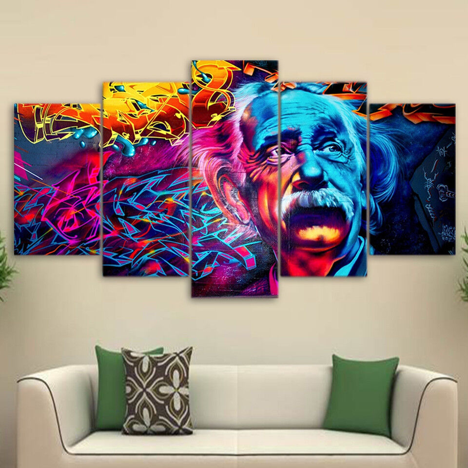 Albert Einstein Psychedelic Painting 5 Panel Canvas Print Wall Art Home Decor