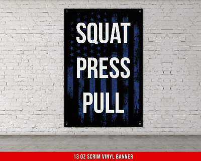 squat press pull banner  home gym decor  large